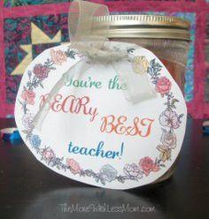 Teacher gift, gummy bears in a mason jar Appreciation Note, Teacher Appreciation Gifts, Teacher Gifts, Mission Projects, Special Holidays, Gummy Bears, Best Teacher, Mason Jars, Notes