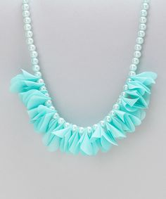 Look at this Frills du Jour Turquoise Petal Pearl Necklace on #zulily today!