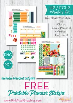 Free Printable Tropical Toucans Planner Stickers. See more at www.pinkpixelgraphics.com
