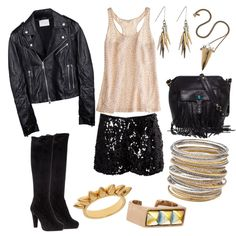Saturday night out!, created by bros-rocketeer on Polyvore  (Gold & Black)