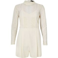 River Island Cream lace romper ($100) ❤ liked on Polyvore featuring jumpsuits, rompers, cream, rompers/ jumpsuits, women, romper jumpsuit, long sleeve rompers, lace rompers, lace jumpsuit and white romper