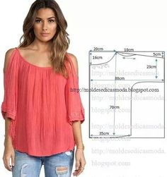 Amazing Sewing Patterns Clone Your Clothes Ideas. Enchanting Sewing Patterns Clone Your Clothes Ideas. Blouse Patterns, Clothing Patterns, Fashion Sewing, Diy Fashion, Sewing Patterns Free, Sewing Tutorials, Free Pattern, Costura Fashion, Sewing Blouses