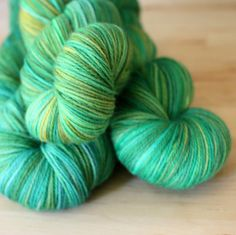 Hand Dyed Yarn / NEW / Green Teal Gold Amber by phydeauxdesigns - just six skeins - this is an unrepeatable colorway!