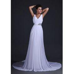 Vestido de Casamento saia grande e comprida material de chiffon alta flexibilidade estilo romântico e simples  €118.99