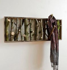Fun coat rack made from branches.