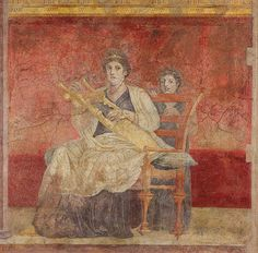 "*POMPEII, ITALY ~ magictransistor: "" A seated woman plays the Kithara (two-stringed lyre); Roman fresco wall painting from Room H of the Villa of P. Fannius Synistor, Boscoreale (about a mile north of Pompeii), Ancient Rome, Ancient Greece, Ancient Art, Ancient History, Art History, Ancient Music, Rome Antique, Art Antique, Vintage Art"