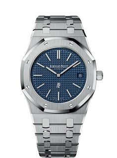 Selfwinding watch with date display. Stainless steel case, blue dial, stainless steel bracelet.