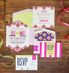 Patterns and geometry take the number 4 spot in wedding invitation trends on the blog! Invitation suite by Touies Design. Photo by Tammy Odell Photography. #bridesofoklahoma #invitationsuite #patterns #geometry #wedding #invitations #oklahoma