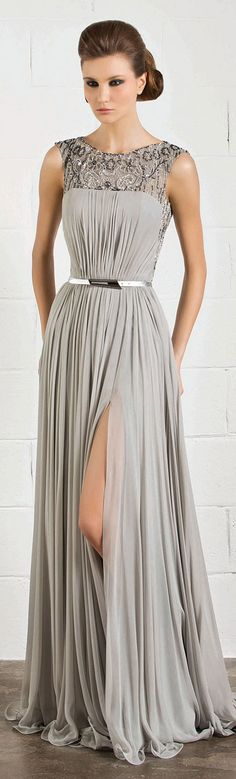 RANI ZAKHEM #elegant #gray #dress