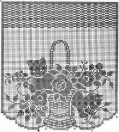 Kittens and flowers. Beautiful filet crochet chart that would make a nice window hanging. Crochet Curtain Pattern, Crochet Curtains, Crochet Doilies, Doily Patterns, Cross Stitch Patterns, Crochet Patterns, Crochet Borders, Crochet Squares, Cross Stitches