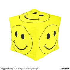 Happy Smiley Face Graphic Cube Pouf
