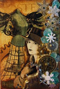 Nice layers on illustration board. Victoria's Art Visions: A Steampunk Christmas SPA Challenge Altered Canvas, Altered Art, Altered Tins, Altered Books, Mixed Media Collage, Collage Art, Collages, Victoria Art, Decoupage