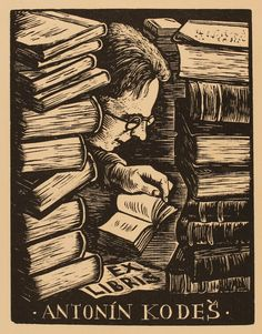 Vaclav Polivka (1927-1971), Czech  / bookplate for Antonin Kodese, c. 1930s ...  depicts man reading surrounded by stacks of books