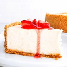 This recipe makes the BEST Eggless Cheesecake you will ever try! It's wonderfully creamy and silky, and it's also one of the easiest to make! A delicious and melt-in-your-mouth classic dessert that will leave everyone asking for seconds. Must try! Strawberry Sauce, Strawberry Cheesecake, Eggless Recipes, My Recipes, Graham Cracker Crumbs, Graham Crackers, Egg Allergy, Classic Desserts, Vegetarian Cheese