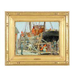 Belle Hoffman (1889 – 1961), Boat Repair, Oil on canvas