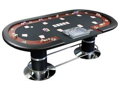 "96"" Dealer Poker Table Metal Chip Tray Drop Box Green Black Felt Mahogany Rail"