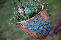závěsný květináč-modré kyti-na objednávku!!!