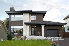 front Affordable Contemporary Modern home plan with family AND living rooms, many photos available - Aniston II