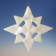 NORTH White Iridized Snowflake Fused Glass Ornament by TheWoCo