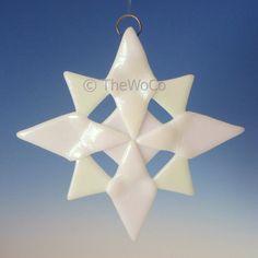 NORTH White Iridized Snowflake Fused Glass Ornament