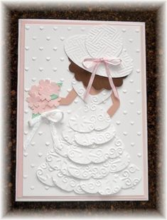 heart punch and layered the dress and then hand cut some details - like the arms and bodice.  Her little hand-cut arms are a peachy color, as is her back, but it really doesn't show up in the picture very well.   I used my new 'hearts' embossing folder (non SU) on whisper white, scalloped the bottom and layered it over some trim left over from a kit.  The flowers are done with the boho blossom punch and a few tiny pearls were added.: