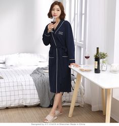 Cotton Couples Robes For Women Man Great Fabric Full Sleeve Knee-Length Letter Pattern One-Set Home Sleepwear Couple Pajamas, Blue Dresses, Dresses For Work, Letter Patterns, Best Gifts, Lettering, Couples, Fabric, Sleeves