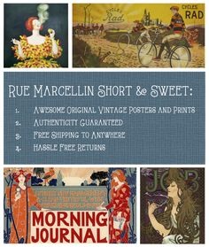 Rue Marcellin Short & Sweet 1. Awesome Orignal Vintage Posters and Prints 2. Authenticity Guaranteed 3. Free Shipping to Anywhere 4. Hassle-Free Returns
