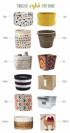 twelve stylish toy bins