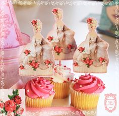 Marie Antoinette Pink Roses Cupcake Toppers Die-Cut  with Glitter Set of 6