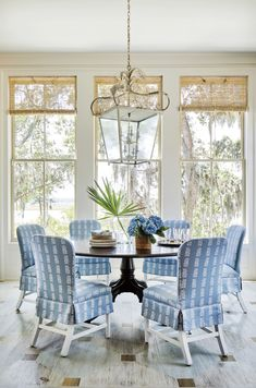 Dining Room Blue, Dining Rooms, Dining Chairs, Blue Shutters, Shingle Style Homes, Southern Living Homes, Country Living, Enchanted Home, White Decor