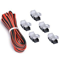 3528 LED Strip Connector 8mm 2 Pin (5 PCS Terminal) With 20 Gauge Extension Wire 2 Conductor UL Listed (9.8 Feet/3 Meter), DIY Both Strip to Power Lead or Board to Board Jumper,NON-WATERPROOF