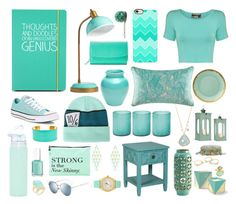 """Aqua (My Dream Desk)"" by ravstar ❤ liked on Polyvore featuring interior, interiors, interior design, home, home decor, interior decorating, Happy Jackson, PBteen, Converse and Disney"