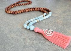 108 MALA Bead, Wood Bead Tassel Necklace, Mala Bead, Mala Necklace, Amazonite Beads, Yoga Necklace, Wood Meditation Beads, Bohemian Jewelry