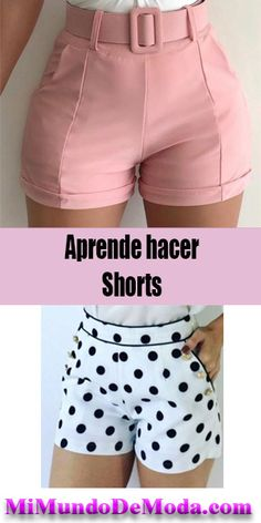 Como Hacer Shorts - Trot Tutorial and Ideas Shorts Outfits Women, Short Outfits, Gym Shorts Womens, Como Fazer Short, Diy Clothes, Clothes For Women, Sewing Courses, Sewing Pants, How To Make Shorts