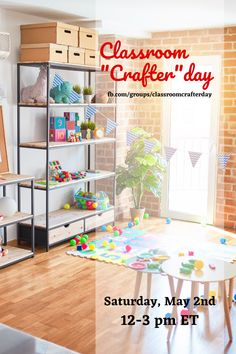 """Come join the teacher fun!  FREE Virtual Classroom """"Crafter""""day takes place on Saturday from 12-3 pm ET!  We will have teacher classroom DIY projects, inspiration photo galleries, giveaways, and even a Party Grab Bag for everyone who attends!  Bring your own craft or do one with us!  Grab your friends and join us on the party page now!"""