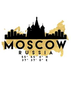 MOSCOW RUSSIA SILHOUETTE SKYLINE MAP ART -  The beautiful silhouette skyline of Moscow and the great map of Russia in gold, with the exact coordinates of Moscow make up this amazing art piece. A great gift for anybody that has love for this city.  moscow russia downtown silhouette skyline map coordinates souvenir gold deificus art