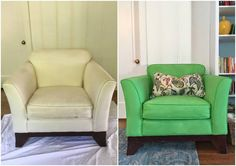Do you have an old chair you love but don't want to reupholster? Give it a makeover with Chalk Paint® by Annie Sloan! Creative customer Shelley Fosse did an amazing before & after with Antibes Green. What a fresh, colorful new look!