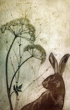 Everywhere printmaker Kerry Buck looks, there are pictures: long-tailed tits in the brambles; a hare startled by our passing; Art And Illustration, Illustrations, Hare Pictures, Hare Images, Rabbit Art, Bunny Art, Beach Scenes, Gravure, Textile Art