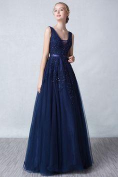 Chic A Linie Rückenfrei Lang Abendkleid in Blau aus Tüll Persun