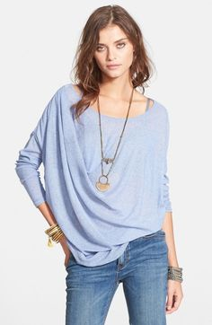 Free shipping and returns on Free People 'Buckley' Tee at Nordstrom.com. A sheer long-sleeve tee crafted from lightweight threads is gently gathered in the front for an elegantly asymmetrical silhouette.