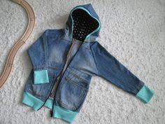 Ipanappi: Farkkuhuppari - The jeans hoodie Jeans And Hoodie, Hippie T Shirts, Sewing Blogs, Sewing For Kids, Refashion, Diy Clothes, Upcycle, My Design, Hoodies