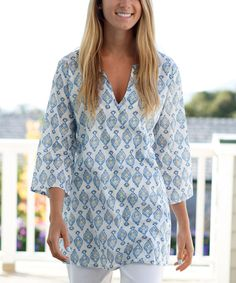 Get ready for spring with this cute Blue Madras Kurta Tunic