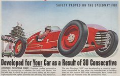 Detail from a Firestone ad for tires built with Nylon