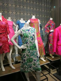 Liberty in Fashion exhibition at the Fashion & Textile Museum, Bermondsey, London 2015. These dresses are mostly from the 1960s and show the influence of the Art Nouveau Revival at the time.