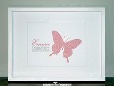Butterfly Damask Nursery Art, Personalized, 8x10