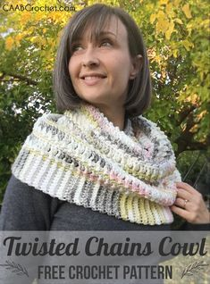 The Twisted Chains Cowl can be worn draping, or around the shoulders. It is thic… The Twisted Chains Cowl can be draped or worn around the shoulders. It's thick and cozy and even comes with a matching hat pattern! Crochet Cowl Free Pattern, All Free Crochet, Single Crochet, Crochet Patterns, Cowl Patterns, Knitting Patterns, Beginner Crochet, Knitting Tutorials, Knitting Kits