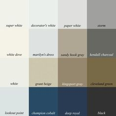 16 colors from my curated Benjamin Moore paint collection of 144 wonderful colors 40 palette boards, furniture, trim colors. Beige Color Palette, Color Beige, Grey And Beige, Color Azul, Interior Paint Colors, Paint Colors For Home, Paint Colours, Sandy Hook Gray, Murs Beiges
