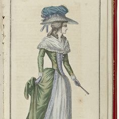 Hiking woman on the head with a 'Chapeau-Bonnette': hat with wide edges downward. For the high, bulging sphere a ribbon that forms a bow from behind. She wears a robe à l'Anglaise with a wide Fichu and a collapsed fold range in the left hand. Chignon hairstyle. (The text says that no matter what's gown is worn by the morning, but that the Chapeau-Bonnette is a must).  Cabinet des Modes Modes ou les Nouvelles, 15 Juillet 1786.