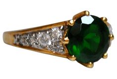 Faux-Emerald & Rhinestone Ring