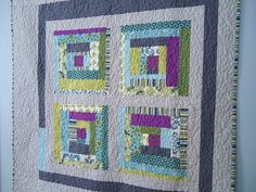 log cabin #quilt in cool colors. lap quilt or wall hanging